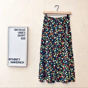 Fruit Button Front Aline Skirt | Vintage